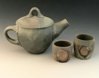 Wood Fired Tea Set, Stoneware Teapot and 2 Cups, Unglazed, Wheel Thrown Teapot and Cups, Anagama Fired, Matte Surfaces, 10 oz.