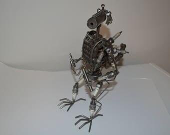Spark plug folk art metal robot transformer style assemblage sculpture Folkart