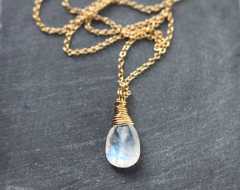 Moonstone Necklace Wire Wrapped in 14k Gold Filled Necklace, June Birthstone