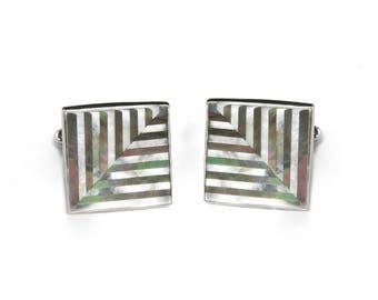 Sterling Silver Herringbone Pearl Inlay Cufflinks