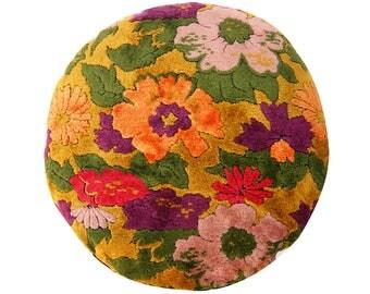 Vintage Velvet Pillow Cover - 20 inch round - Floral Velvet - Bohemian -  mid century - cotton velvet - made to order
