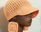 CLEARANCE Peach Crochet Baseball Cap Hat with Earrings by Razonda Lee Razondalee