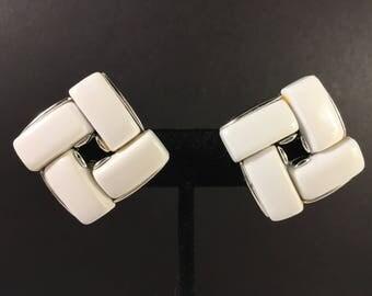 Lisner Earrings, Vintage Jewelry, Lisner Jewelry, Clip On Earrings, Lisner Lucite Squares, Lisner Thermoset, Chunky White Vintage Earrings