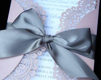Doiley Laser Cut Gatefold Wedding Invitation, Elegant Design Dusty Pink & Grey