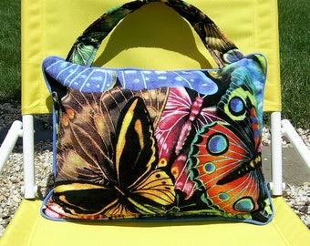 Pillow Beach Pillow Travel Pillow Butterflies on Black