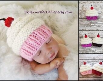 Newborn Cupcake Hat, Knit Baby Cupcake Hat, Newborn Hat, Cupcake Beanie, Children Cupcake Hat, Newborn Photography Prop, Baby Shower