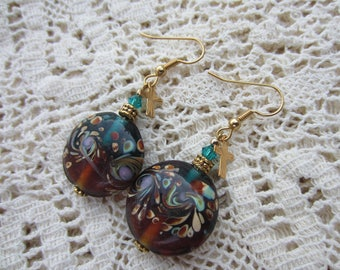 Cross Lampwork Earrings, Turquoise & Amber, Swarovski Crystals, Christian Catholic Jewelry, Religious Gift