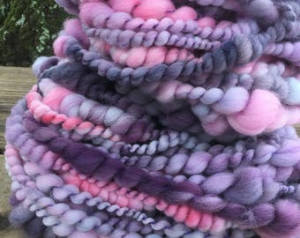 Hand spun Art yarn hand spun hand dyed bulky 2 ply knitting supplies crochet supplies Waldorf doll hair wool baby photo prop