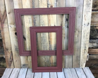 ON SALE - Rust Picture Frame Set of 2 , Rustic Hand Painted Set, 16x20, 9x16 Photo Frame, Gallery Wall Frame Set, Lot 29