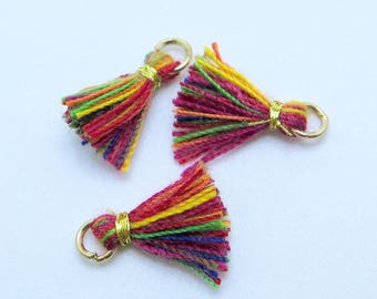 Mini Cotton Jewelry Tassels with Gold Binding and Gold Plated Jump Ring, Rainbow Tassels, 3 pcs Approx 10mm - MT15