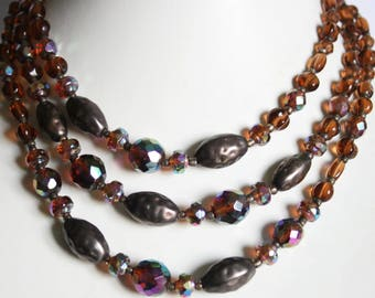 Vintage brown bead necklace. 3 row necklace. Crystal necklace