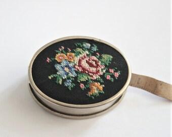 Vintage Tape Measure. Petit point tape measure. Vintage sewing accessory. Black Petit Point.  Retractable tape measure. Needlepoint