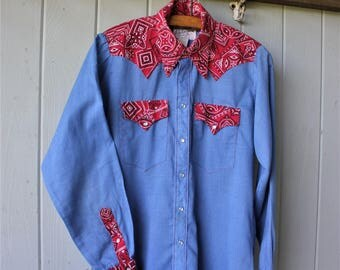 Vintage Rockmount Ranch Wear Western Chambray and Bandana Shirt Size 15
