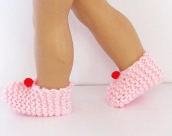 Pink Knit Slippers with Red Pom Pom made to fit 18 inch American Girl Doll Clothes