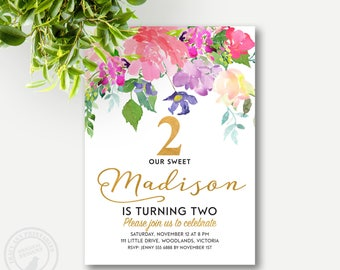 Floral 2nd Birthday Invitation. Flower Girl Birthday Invitation,  First Birthday, Printable, Digital, Glitter, Faux gold 1503