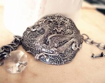 Dragon Lengend--Swarovski vintage crystal antique silver brass adjustable bracelet
