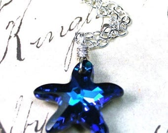 ON SALE The Swarovski Crystal Starfish Necklace in Bermuda Blue - Blue Swarovski Crystal Pendant and Sterling Silver