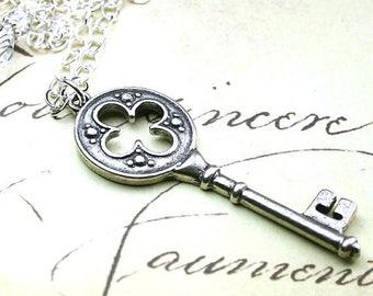 ON SALE The Celtic Key Pendant - Silver Key Necklace - Handmade with Sterling Silver and Swarovski Crystal