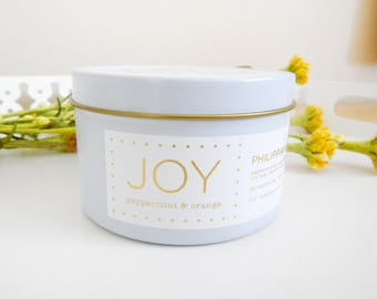 Joy peppermint orange essential oil candle candle, soy candle,  housewarming gift for her, Bible study gift mother in law gift, gift for mom