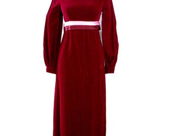 Vintage 60s Cranberry Velvet Prom Dress - 1960s Boho Hippie Maroon Velvet Maxi Dress - Cocktail Party Dress with Metal Zipper - Small 7/8
