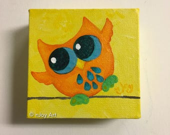 Miniature Owl Art, The Daily Doodle, Mini Painting, 4x4 acrylic canvas