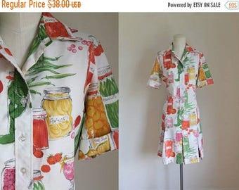 20% off SALE vintage 1960s dress - PICKLING novelty print Serbin shirt dress / M
