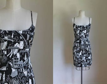 vintage 1990s dress - PARIS novelty print sundress / M