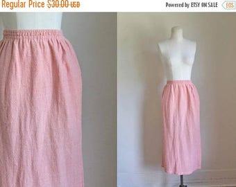 AWAY SALE 20% off vintage 1980s skirt - SANGAM rose pink indian cotton skirt / M