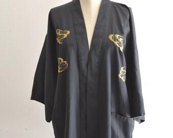 Vest Black Chinese JAPANESE Women Kimono Traditional Embroidery Satin Robe Gold Dragon Bath Gown Sleepwear Street Style