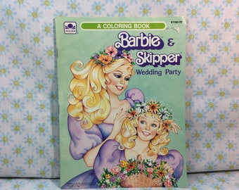 1985 Barbie and Skipper Wedding Party Coloring Mattel Golden 80s Kids Coloring Book Partially Used