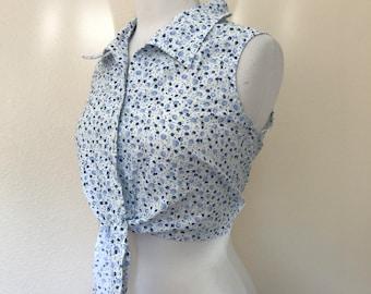 vintage sleeveless collared tie blouse sz S