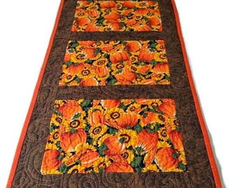 Nice Quilted Fall Table Runner, Fall Table Topper, Thanksgiving Table Runner,  Thanksgiving Centerpiece,