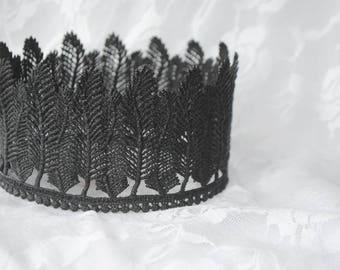 "Bohemian Black Lace Crown -""Feather Crown""  - princess, queen, royal, costume crown,macabre"