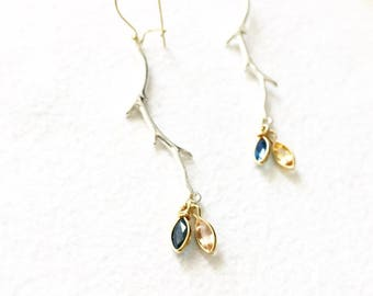 Blue Sapphire and Imperial Topaz Twig Earrings Sterling Silver and Gold