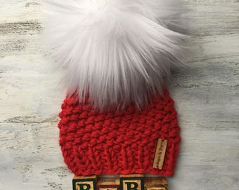 CHRISTMAS Knitted Baby Hat with LARGE Faux Fur Pom - Christmas Baby Hat - Baby Knitted Hats with Pom poms - Faux Fur Pom
