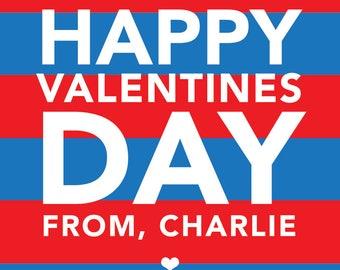 Valentine stripe blue, Valentine's sticker, Square Stickers, Personalized Stickers, Custom Stickers, Name Stickers, holiday stickers