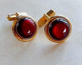 Vintage Red Cufflinks by Swank, Unisex Cufflink