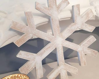 Wooden snowflake, hand cut Scandi, Nordic ply snowflake, Christmas decoration, plywood white washed snowflake