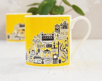 Brighton Mug - Yellow Brighton Mug - colourful mug - colourful Brighton mug - Brighton gift - Brighton and Hove gift