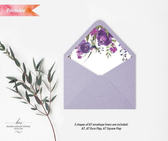 Printable Purple Lavender Floral A7 Envelope Liners Template Euro