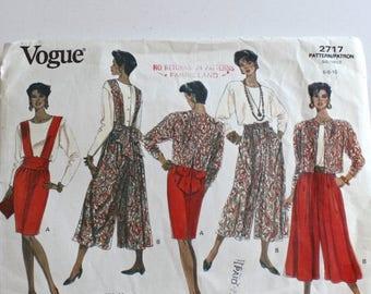 SALE Vintage 1990s Culottes Wide Leg Split Skirt . Jacket . Top & Bib . Vogue 2717 UNCUT Sewing Pattern Size 6-8-10 Bust 30 1/2 - 32 1/2 inc