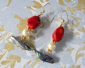 Coral and Pearl Earrings (3763)