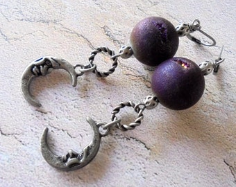 Puple Druzy and Pewter Moon Boho Earrings (4288)