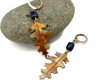 Raw Copper and Sodalite White Oak Earrings