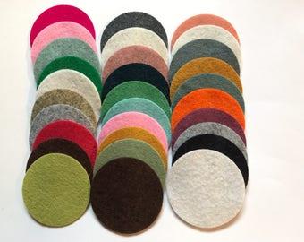 Wool Felt Circles Die Cut 30 - 2 inch Random Colored 4042 - Felt Supplies - circle die cut - headband supplies - Art & Crafts - Merino Felt