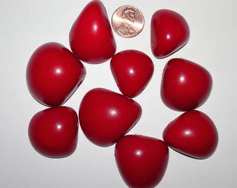 9 Red Tagua Nut Bead, Top Slices, Organic Beads, Natural Beads, Vegetable Ivory Beads, EcoBeads 7