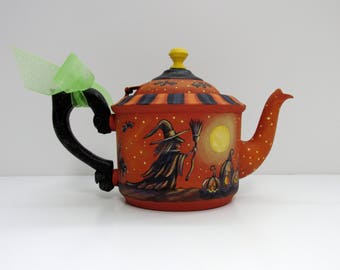 Halloween Orange Tea Pot, Witch with Broom, Jack-o-Lanterns, Black Bats, Hand Painted, Small Tea Pot, Tole Painted, Halloween Silhouettes