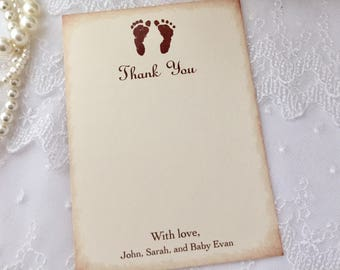 Baby Shower Thank You Cards Gender Neutral Footprints Personalized Set of 10