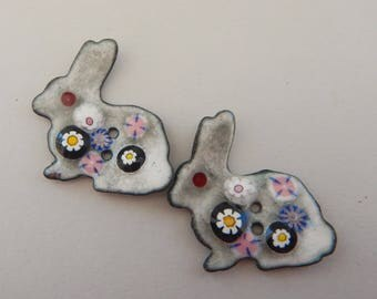 Hand enameled 2- Holed Button Bunnies  2018 B-27