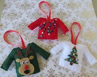 Set of Three Handsewn Felt Ugly Christmas Sweater Ornaments
